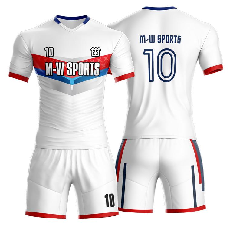 Custom Cheap Team Soccer Wear Add Logo Name Number White Soccer Football Jersey
