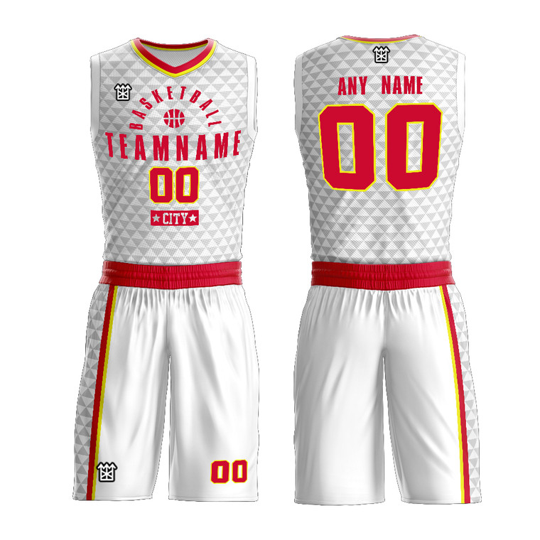 Customized Sublimated Triangle Pattern Basketball Team Uniform Add Logo Name Number For Men