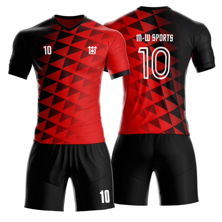 Cool And Popular Soccer Uniform Design Triangle Pattern Breathable Sublimated Men Soccer Wear