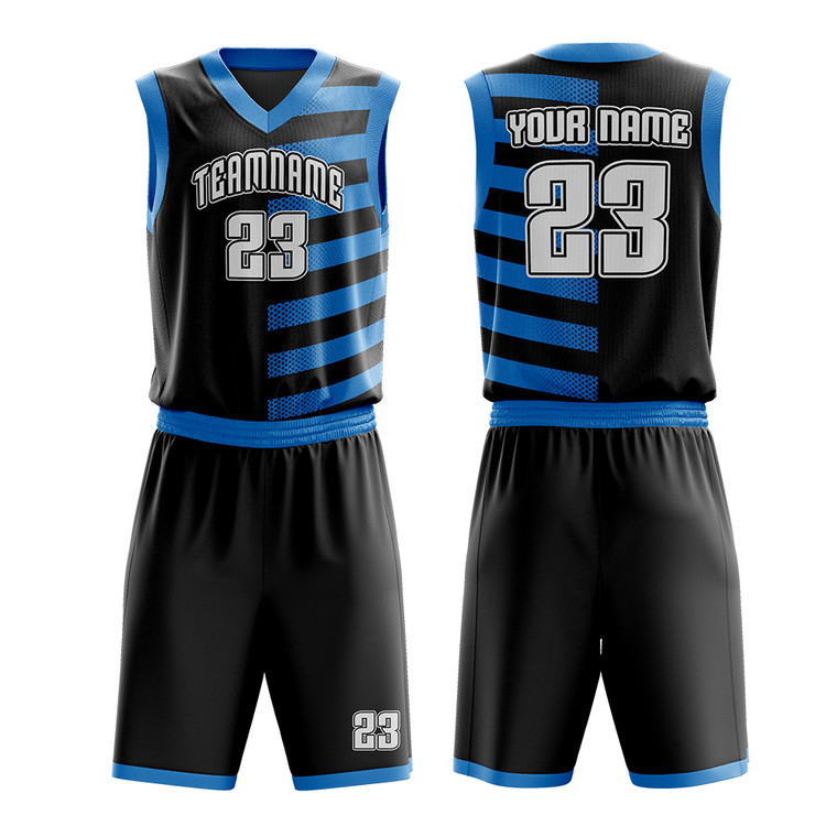 Basketball Uniform Design With Striped Pattern Custom Name Number For Team