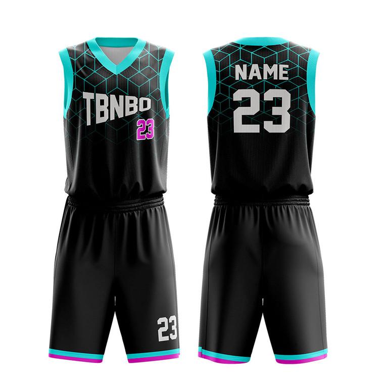 Custom Sublimation Breathable Cool Pattern Men Black Basketball Uniforms