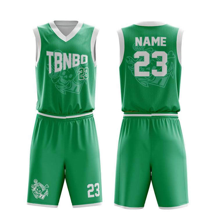 Comfortable Practice Basketball Uniform Blank Green Basketball Team Wear