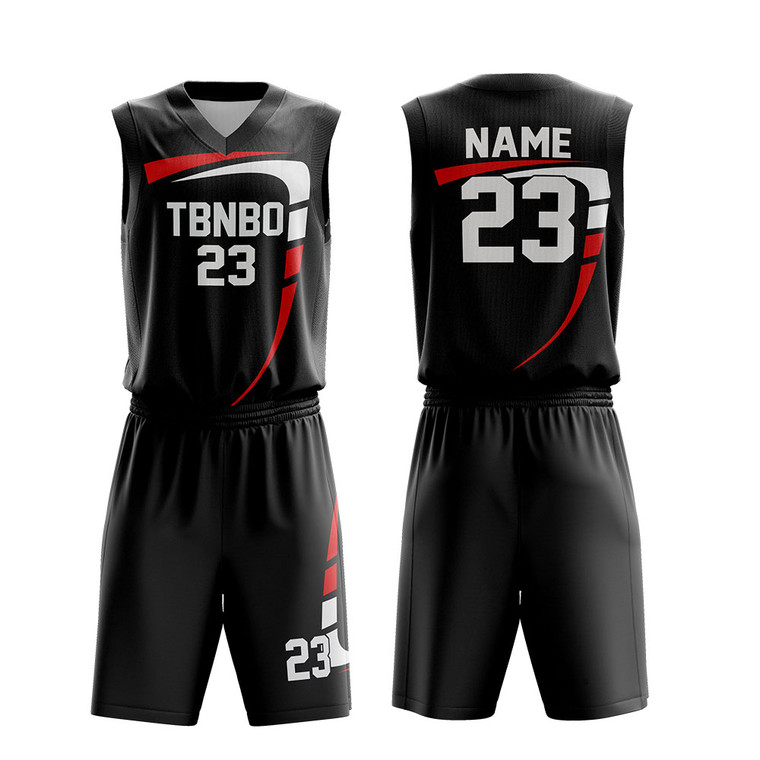 Cool Personalized Youth Custom Sublimated Printing Black Basketball Uniforms