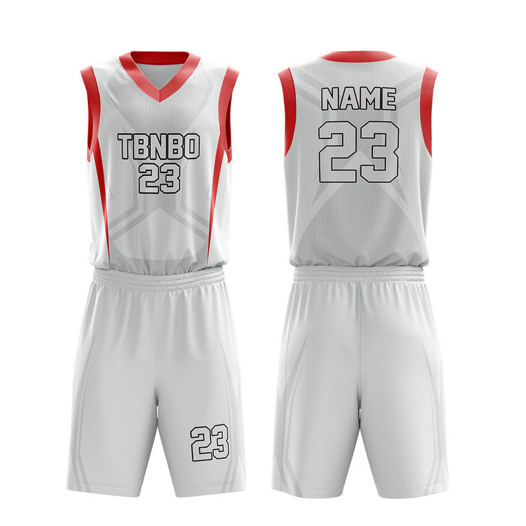 Customized Simple Design Color White Basketball Clothes Youth Team Basketball Jerseys
