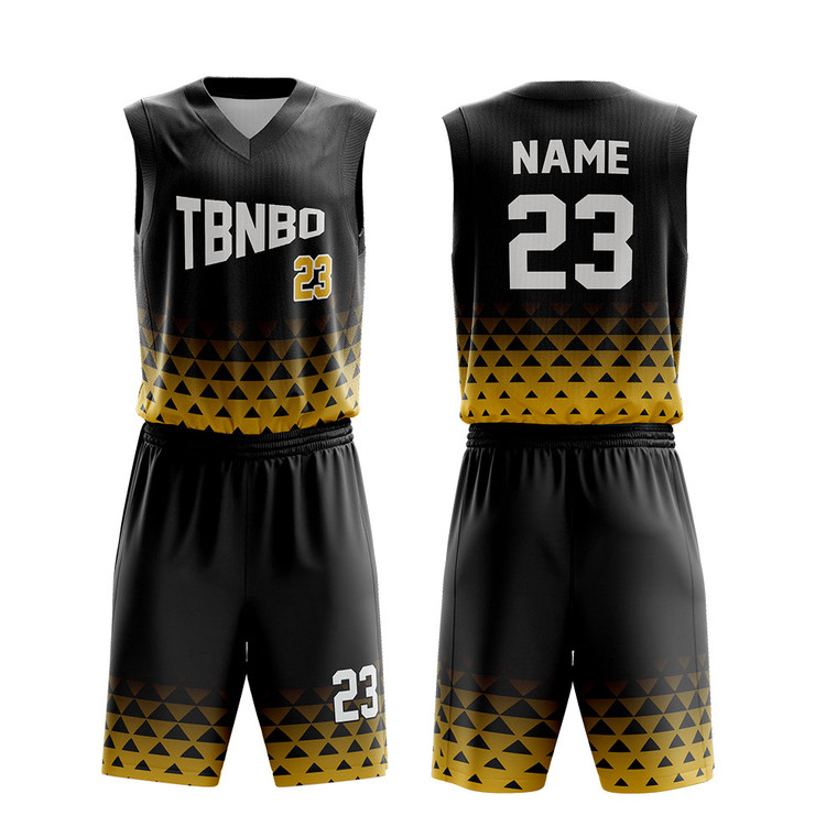 Customized Cool Trianle Pattern Basketball Uniform Design Color Black Basketball Wear