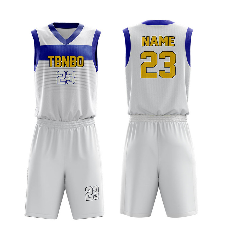 Latest Basketball Jersey Design 100% Polyester Breathable White Basketball Uniforms