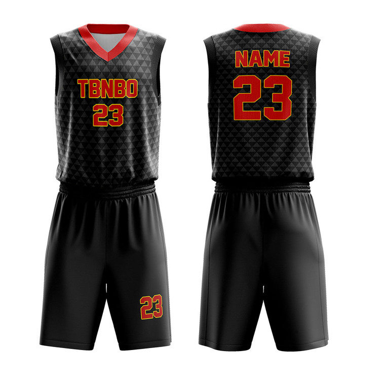 Custom Cool Basketball Design Color Black Triangle Patterns Youth Team Basketball Uniforms