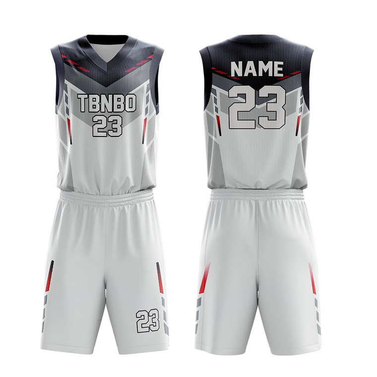 Striped Basketball Clothes Design Custom Color White Sublimated Basketball Jerseys