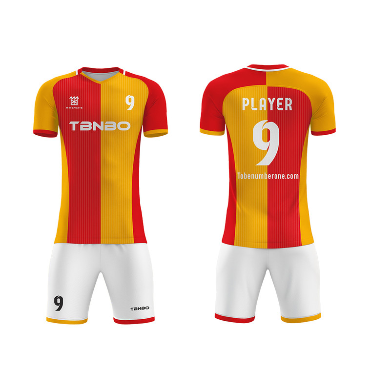 Full Sublimation Customized Two Tone Football Shirts And Shorts Professional Player Soccer Jerseys Kits