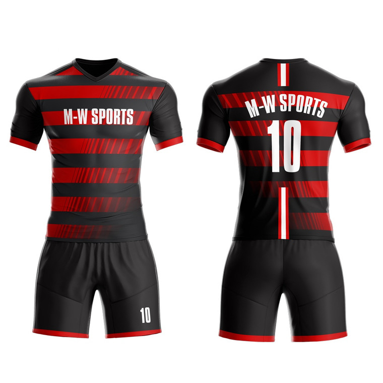 High Quality Personalized Your Own Team Uniform Sublimated Striped Soccer Jerseys