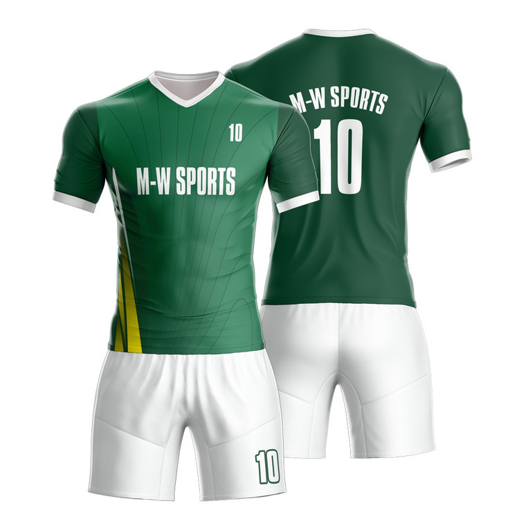 Green Soccer Jersey Kits Shirts And Shorts With Custom Logo For SoccerTeam Training And Gaming