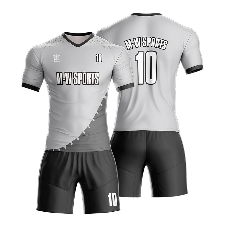 Customized Youth Sublimation Grey Soccer Jerseys For Football Team