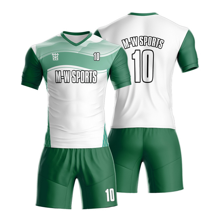 High Quality 100% Polyester Dry Fit Sublimated Youth Green And White Football Soccer Uniform
