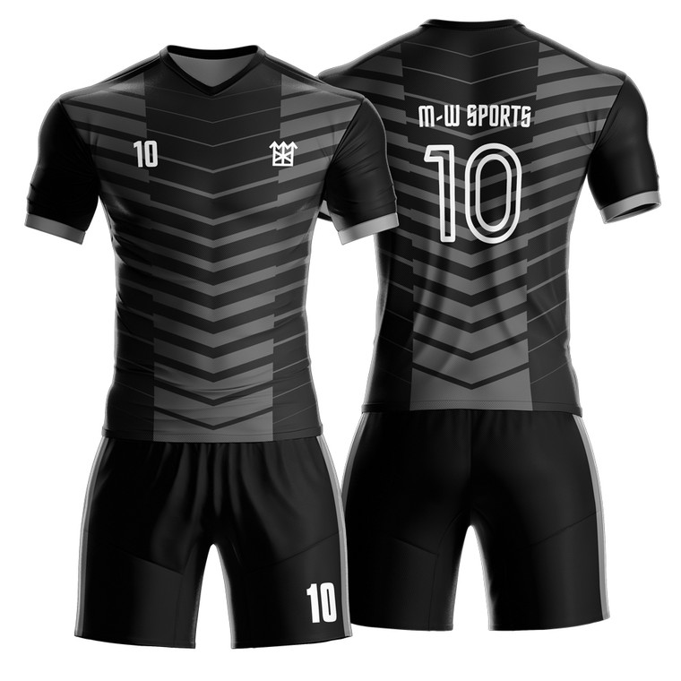 OEM Customized Striped Soccer Uniform Football Jersys With Logo Name And Number
