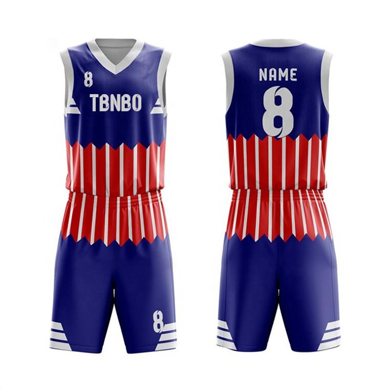 Sublimated Latest Basketball Jersey Striped Design Men's Training Basketball Uniforms