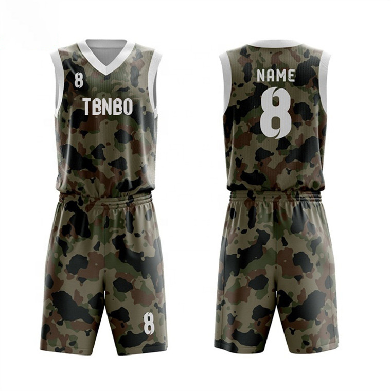 Wholesale Polyester Best Latest Customize Camo Basketball Jersey Uniform Design