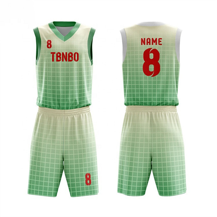 New Design Plaid Basketball Sports Wear Sublimation Printing Green Basketball Jerseys