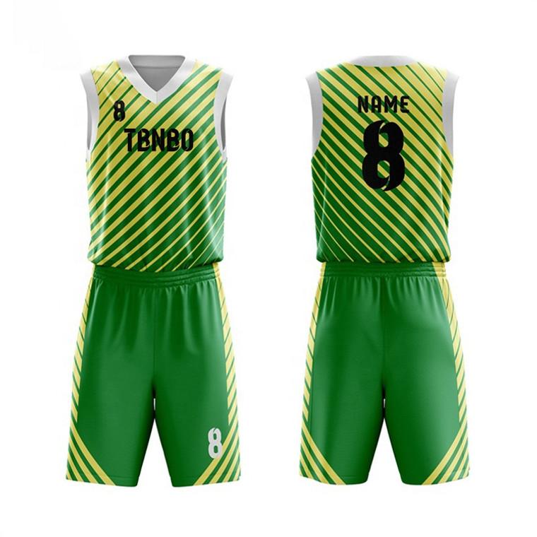 Sublimation Printing Stripes Basketball Jersey Custom Team 100% Polyester Basketball Uniform For Sale