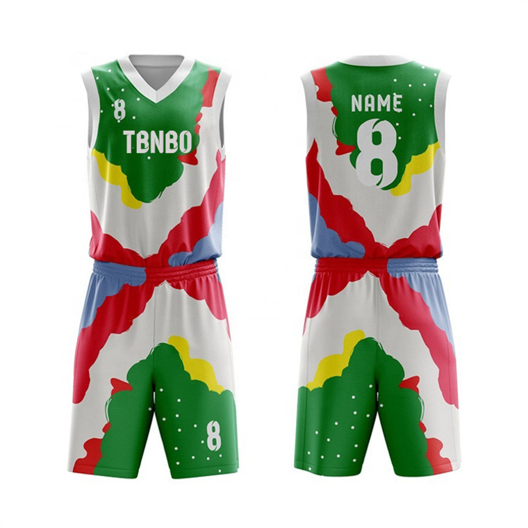 Latest Design Top Quality Sublimated Multi Colorful Basketball Jersey Uniforms For Team