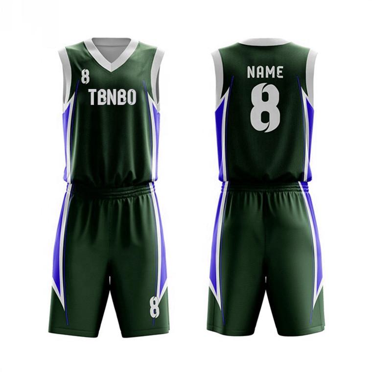 Fully Customized 100% Polyester Sports Wear Side Seam Basketball Uniform Jerseys