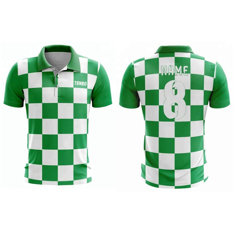 100% Polyester Stylish Plaid Polo Shirt Top Men Custom Green And White Polo T-Shirts