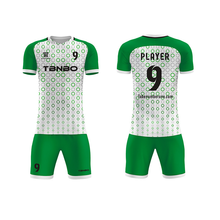 Green Soocer Kits Design 100% Polyester Quick Dry Team Training And Gaming Soccer Football Jerseys