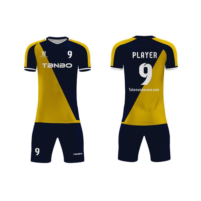Two Tone Soccer Jerseys Uniform Set Shirts And Shorts Breathable 100% Polyester Men Soccer Football Jerseys