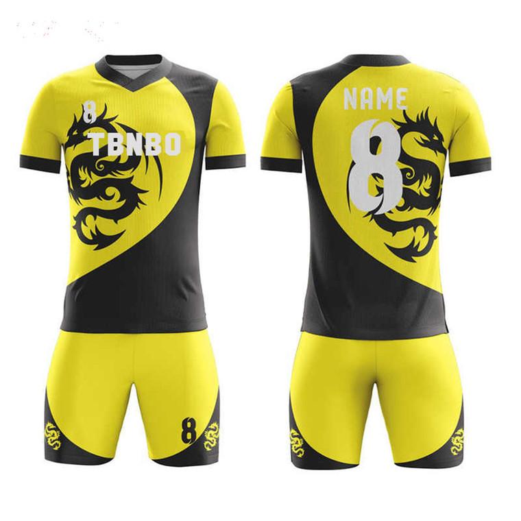 Design Your Own Team Uniforms Custom Logo Dragon Pattern Sublimation Soccer Jerseys