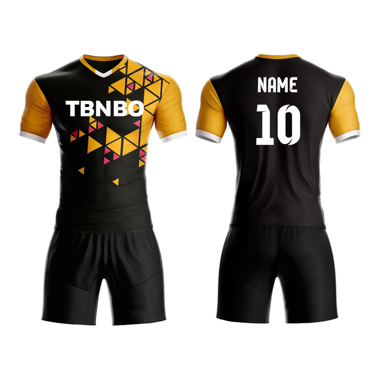 New Custom Made Design Soccer Team Jerseys Customized Triangle Pattern Men's Sublimation Printing Soccer Uniforms