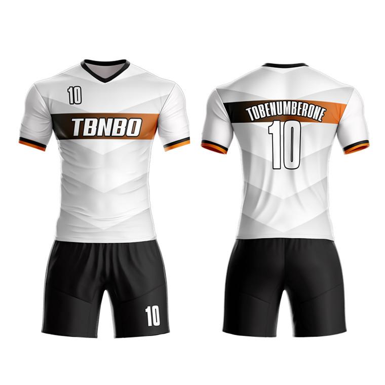 New Season Team Jerseys Fully Customized Sublimation White And Black Soccer Uniforms Kits