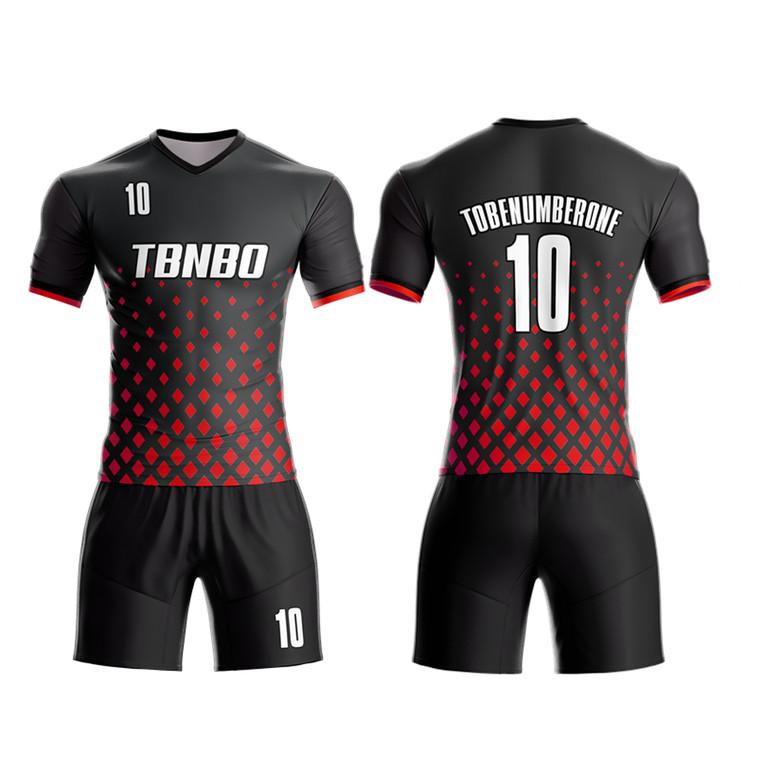 Custom Men Soccer Kits Diamond Shape Pattern Soccer Football Shirts And Shorts