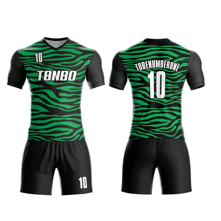 New Design Wave Stripes Pattern 100% Polyester Sublimated Soccer Uniforms