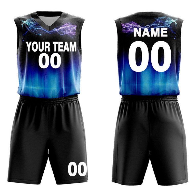 custom black basketball uniforms Fluorescence concept design Create your own uniform with Team Names, Numbers,logo
