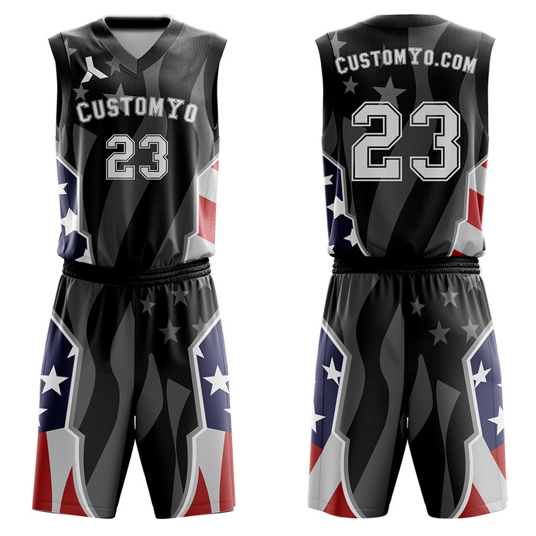 Custom American flag concept design Basketball jerseys and shorts - Make Your OWN Jersey - Personalized Team Uniforms free add logo