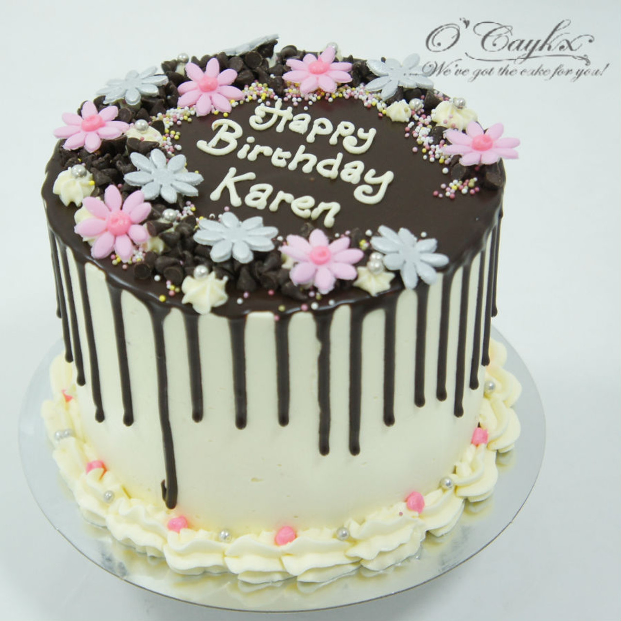 Prime Chocolate Drip Cake With Flowers Aberdeen Personalised Birthday Cards Paralily Jamesorg