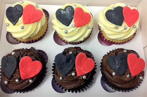 Red and Black Loveheart Topped Cupcakes - C00024