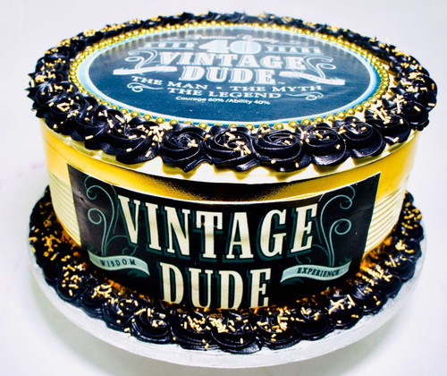Vintage Dude Photo cake with Gold
