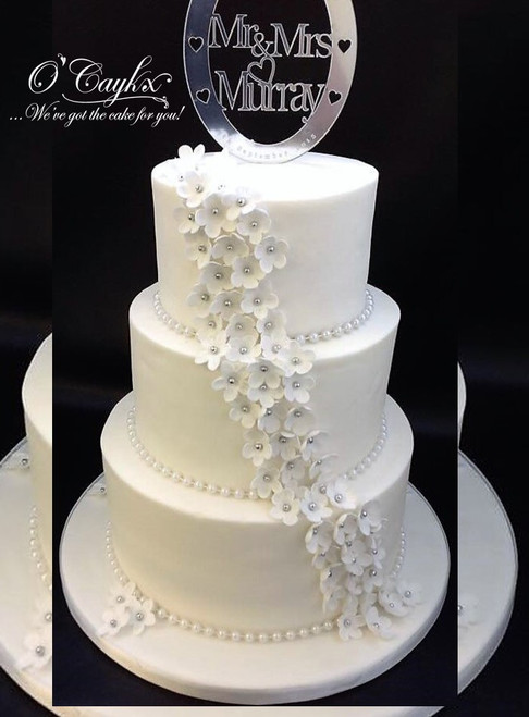 Cascading Flowers Wedding Cake