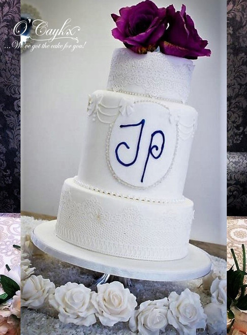 Barrel and Lace Wedding Cake