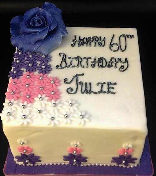Square Floral Cake