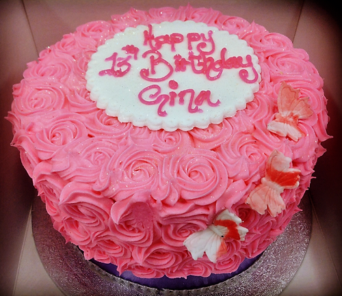 Pink Swirl Buttercream Cake with Butterflies