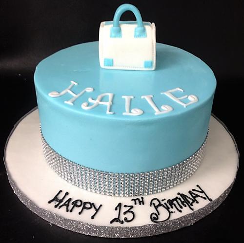 Sky Blue Cake with Handbag