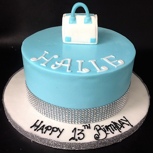 Sky Blue Cake with Handbag