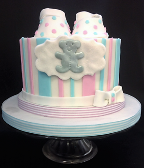 Striped Cake with Booties and Teddy