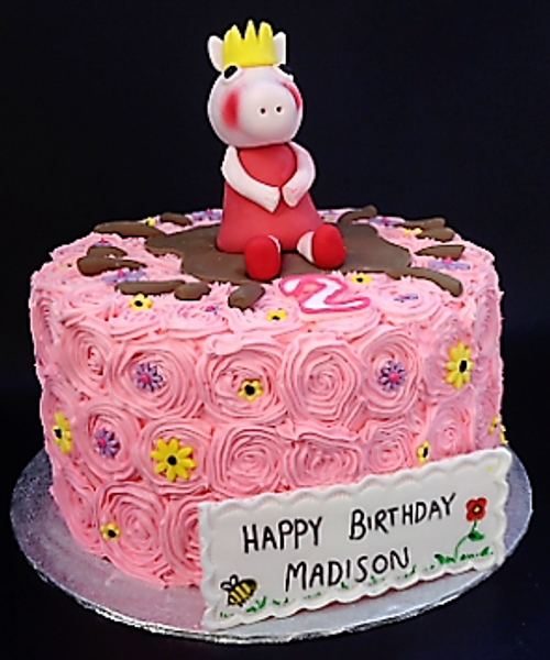 Pink Swirl Buttercream Cake with Peppa Pig