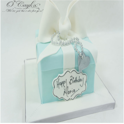 Blue and White Gift Box Cake