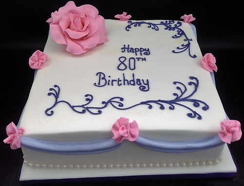 White and Blue Cake with Rosettes
