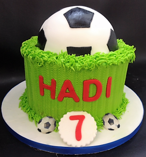 Football Cake with Grass Pitch