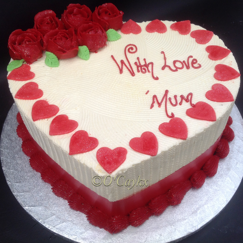 Buttercream Love heart Cake with Rosettes