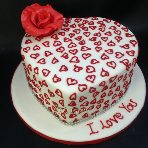 Love Heart Cake with Rose